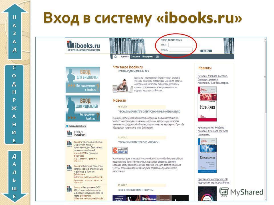Вход в систему «ibooks.ru» СОДНРЖАНИЕДАЛЬШЕНАЗАД