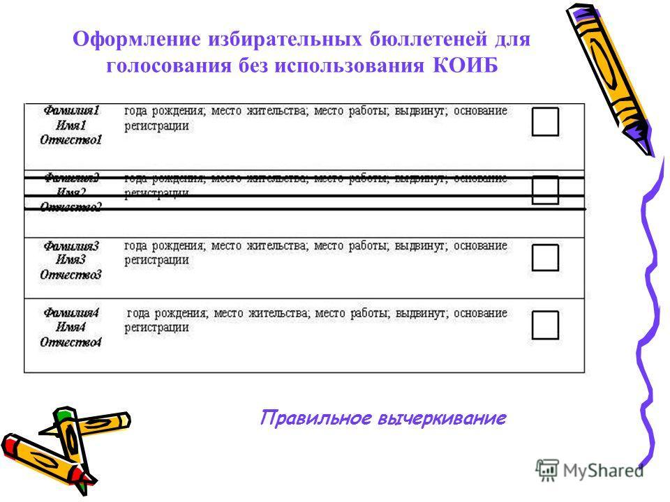 Оформление избирательных бюллетеней для голосования без использования КОИБ Правильное вычеркивание