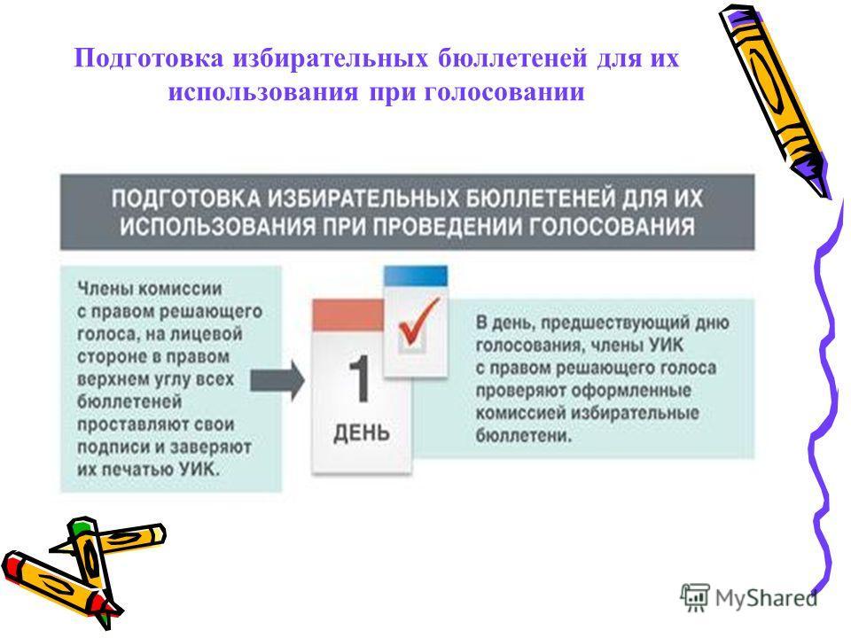 Подготовка избирательных бюллетеней для их использования при голосовании