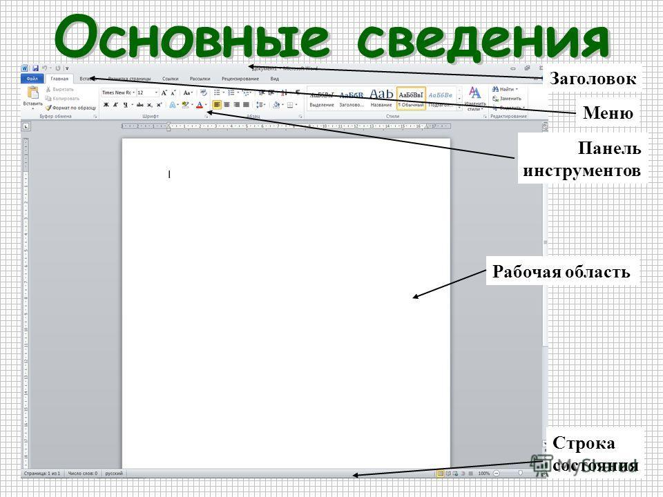 Заголовок Меню Рабочая область Панель инструментов Строка состояния