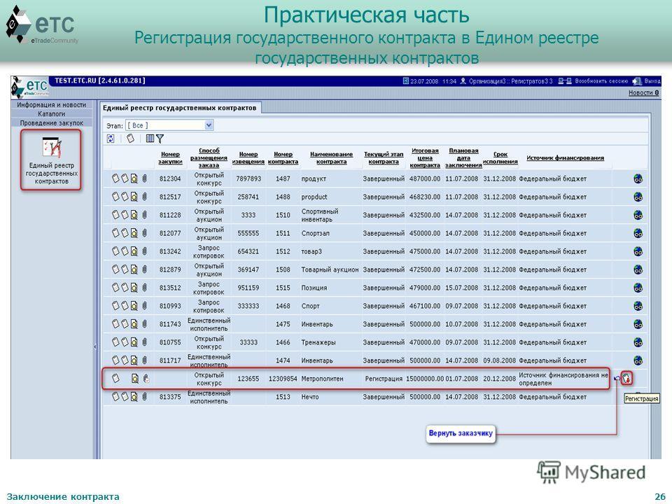 Заключение контракта26 Практическая часть Регистрация государственного контракта в Едином реестре государственных контрактов