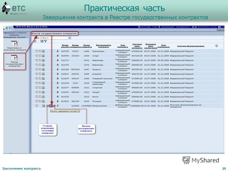 Заключение контракта29 Практическая часть Завершение контракта в Реестре государственных контрактов