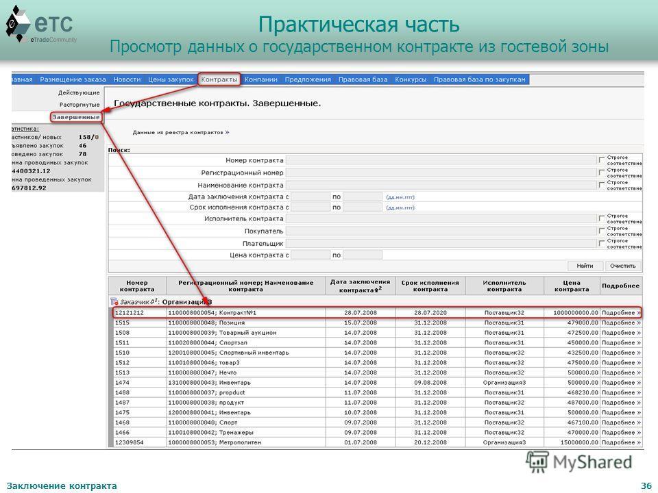 Заключение контракта36 Практическая часть Просмотр данных о государственном контракте из гостевой зоны