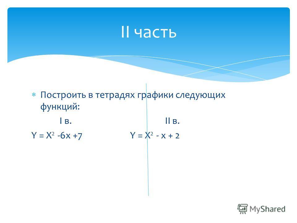 Построить в тетрадях графики следующих функций: I в. II в. Y = X 2 -6x +7 Y = X 2 - x + 2 II часть