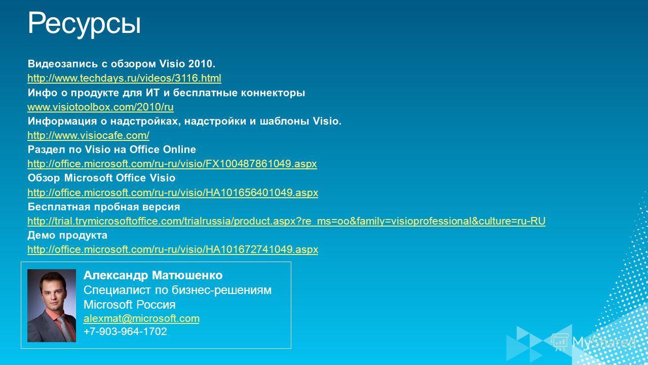Александр Матюшенко Специалист по бизнес-решениям Microsoft Россия alexmat@microsoft.com +7-903-964-1702