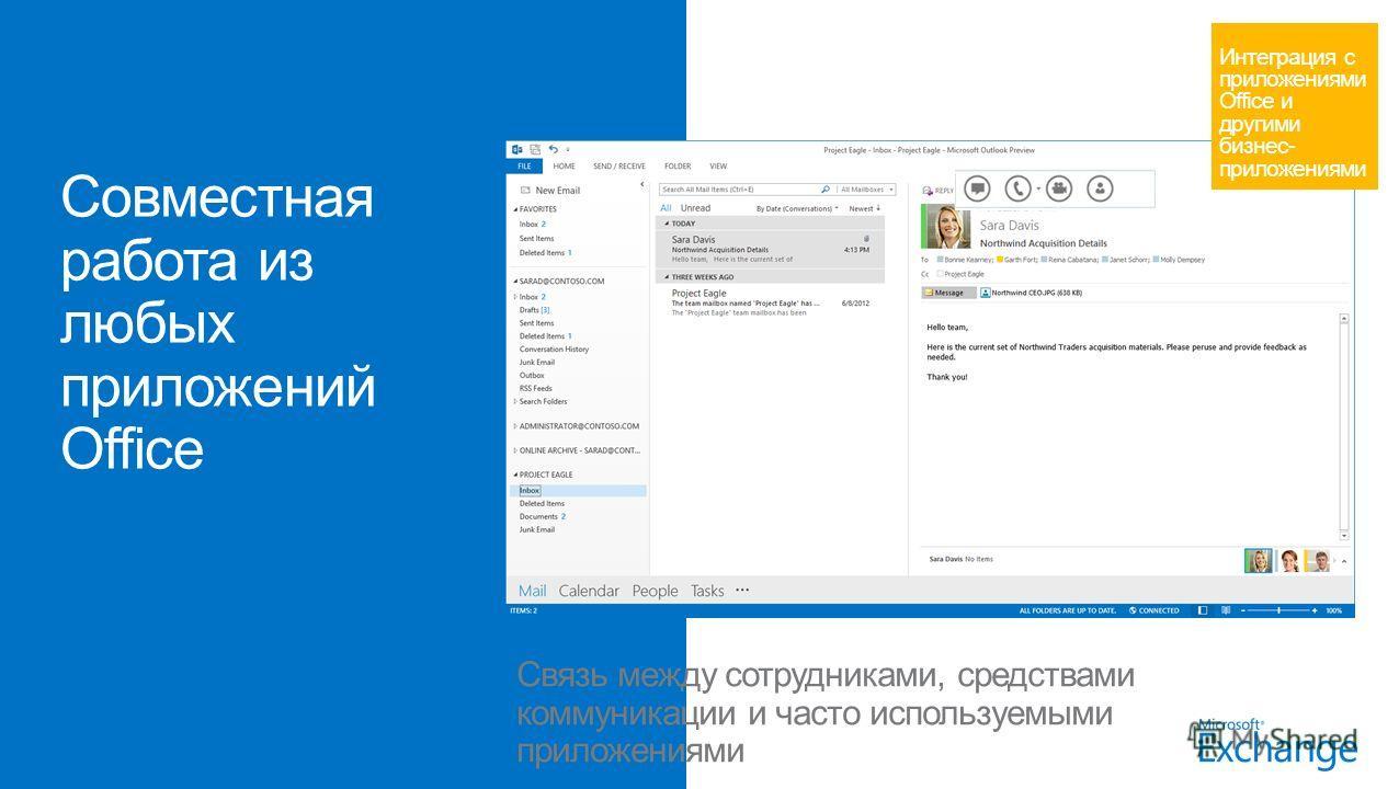 Связь между сотрудниками, средствами коммуникации и часто используемыми приложениями Интеграция с приложениями Office и другими бизнес- приложениями