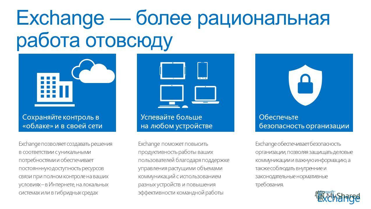 Exchange позволяет создавать решения в соответствии с уникальными потребностями и обеспечивает постояннную доступность ресурсов связи при полном контроле на ваших условиях – в Интернете, на локальных системах или в гибридных средах Exchange поможет п