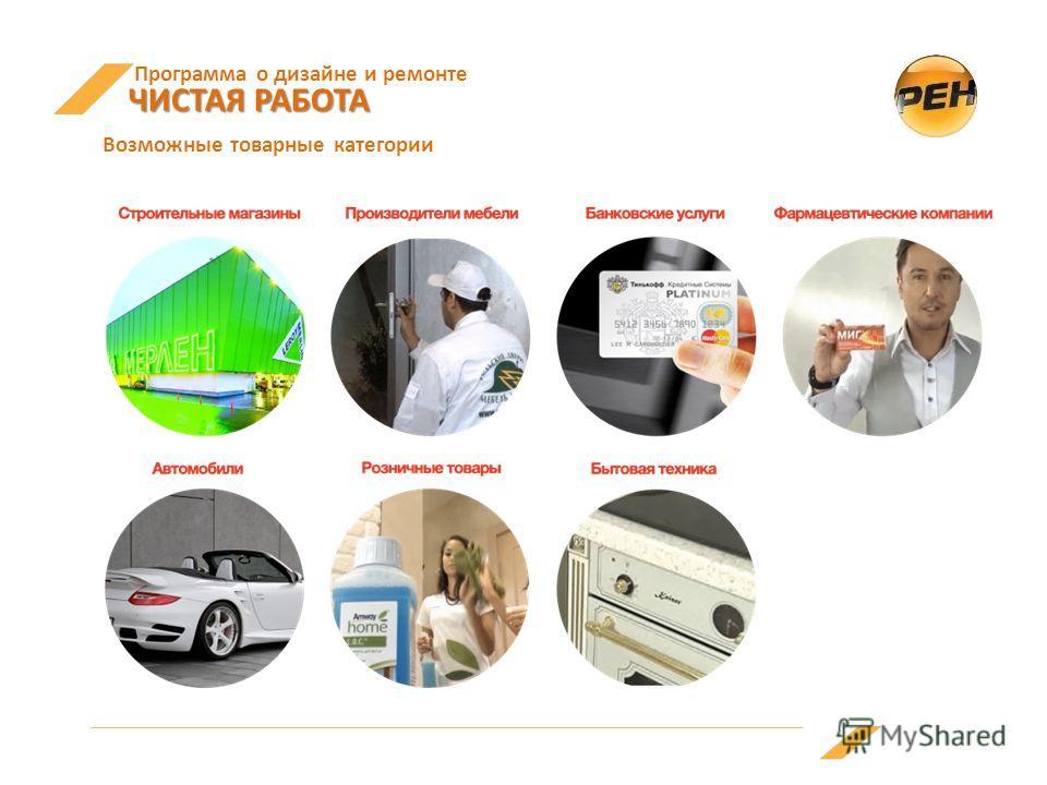 Программа о дизайне и ремонте ЧИСТАЯ РАБОТА ЧИСТАЯ РАБОТА Возможные товарные категории
