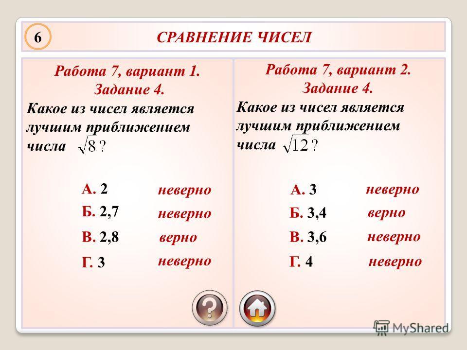 СРАВНЕНИЕ ЧИСЕЛ Работа 7, вариант 1. Задание 4. Какое из чисел является лучшим приближением числа А. 2 Б. 2,7 В. 2,8 Г. 3 Работа 7, вариант 2. Задание 4. Какое из чисел является лучшим приближением числа А. 3 Б. 3,4 В. 3,6 Г. 4 6 верно неверно верно