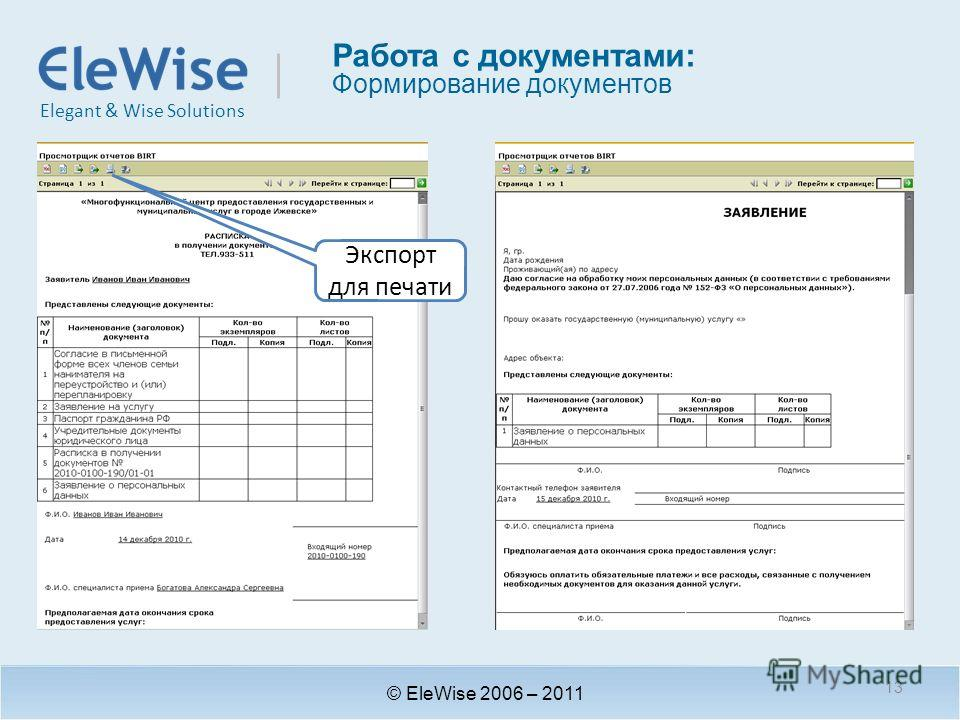 Elegant & Wise Solutions Работа с документами: Формирование документов © EleWise 2006 – 2011 Экспорт для печати 13