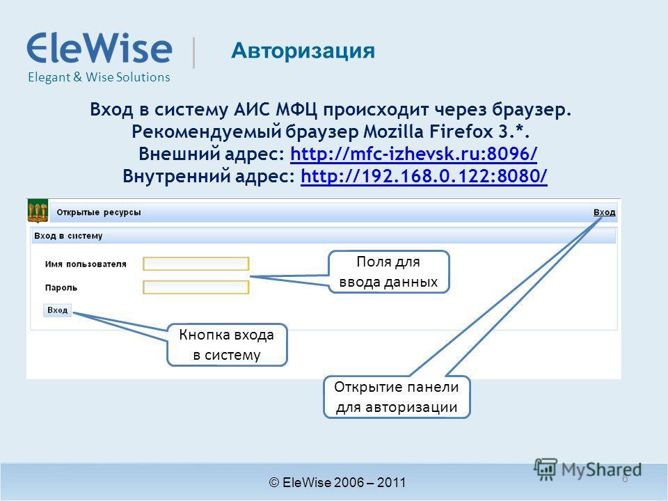 Elegant & Wise Solutions Авторизация © EleWise 2006 – 2011 Вход в систему АИС МФЦ происходит через браузер. Рекомендуемый браузер Mozilla Firefox 3.*. Внешний адрес: http://mfc-izhevsk.ru:8096/http://mfc-izhevsk.ru:8096/ Внутренний адрес: http://192.
