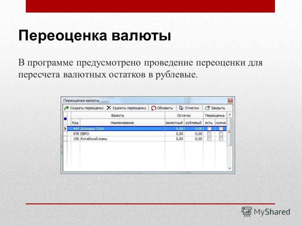 Переоценка валюты В программе предусмотрено проведение переоценки для пересчета валютных остатков в рублевые.