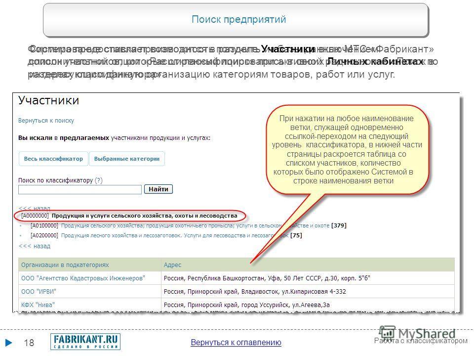 17 Работа с классификатором Поиск прайс-листов Система предоставляет специальный сервис поиска прайс-листов по выбранным категориям, используя возможности функционала контекстного поиска (см. пояснения на слайде 5 выше)выше Порядок поиска по выбранны