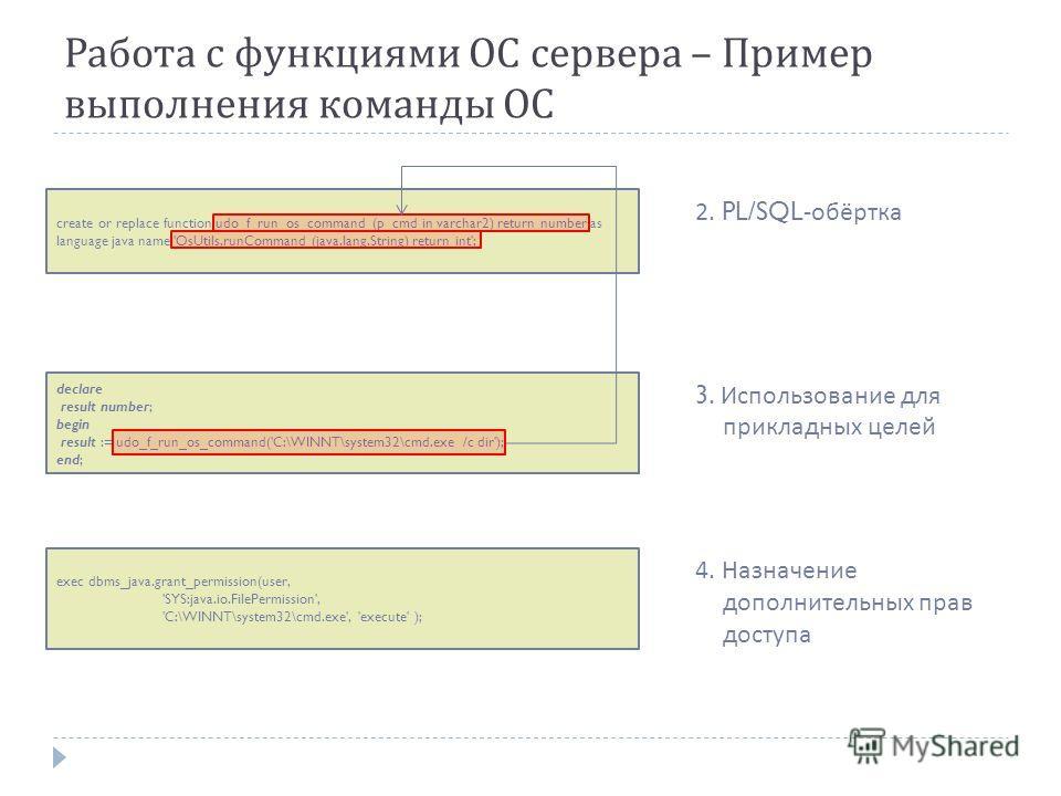 Работа с функциями ОС сервера – Пример выполнения команды ОС create or replace function udo_f_run_os_command (p_cmd in varchar2) return number as language java name 'OsUtils.runCommand (java.lang.String) return int'; 2. PL/SQL- обёртка declare result