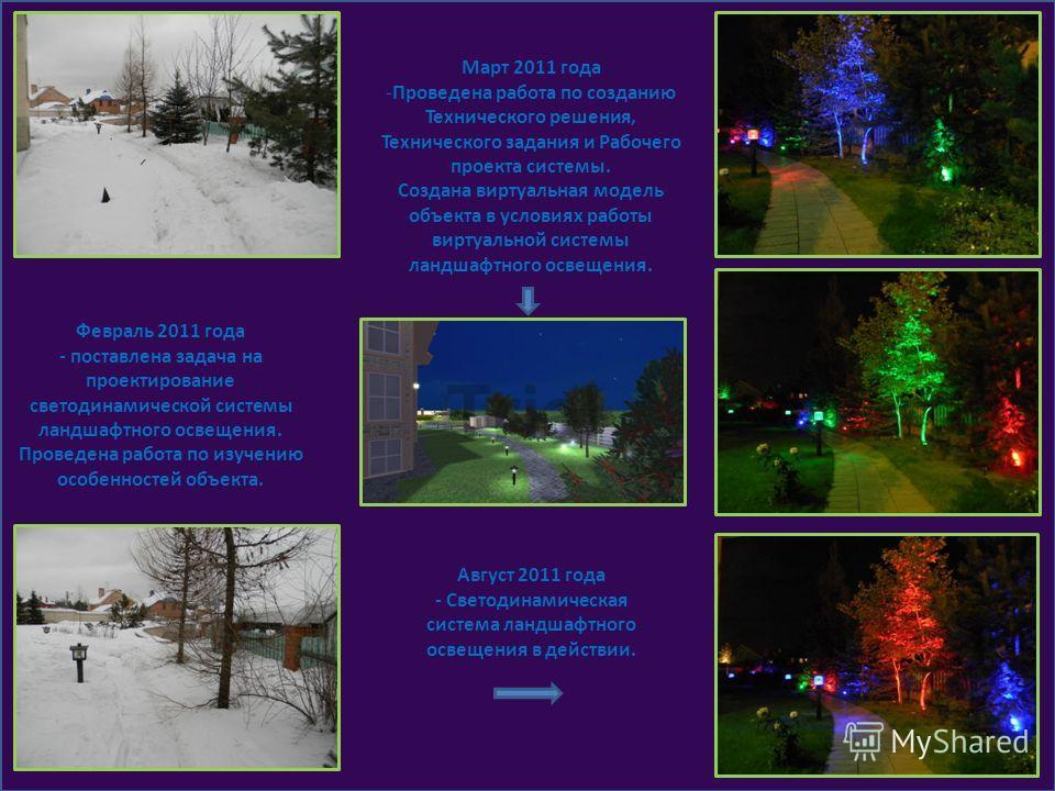 Февраль 2011 года - поставлена задача на проектирование светодинамической системы ландшафтного освещения. Проведена работа по изучению особенностей объекта. Март 2011 года -Проведена работа по созданию Технического решения, Технического задания и Раб