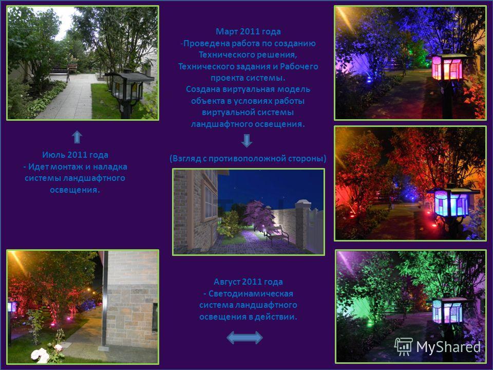 Июль 2011 года - Идет монтаж и наладка системы ландшафтного освещения. Март 2011 года -Проведена работа по созданию Технического решения, Технического задания и Рабочего проекта системы. Создана виртуальная модель объекта в условиях работы виртуально