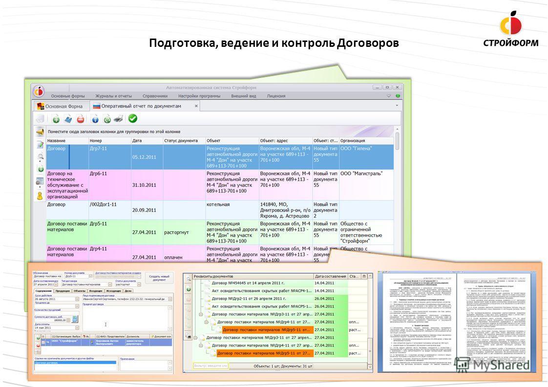 Подготовка, ведение и контроль Договоров