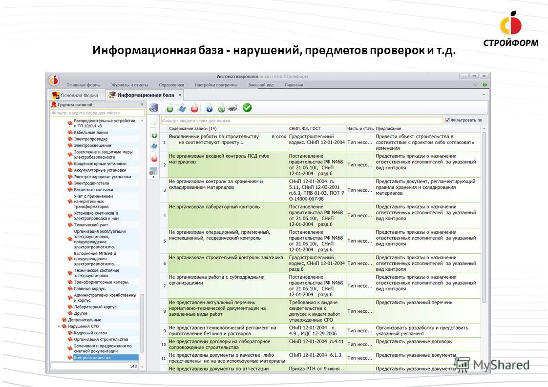 Информационная база - нарушений, предметов проверок и т.д.