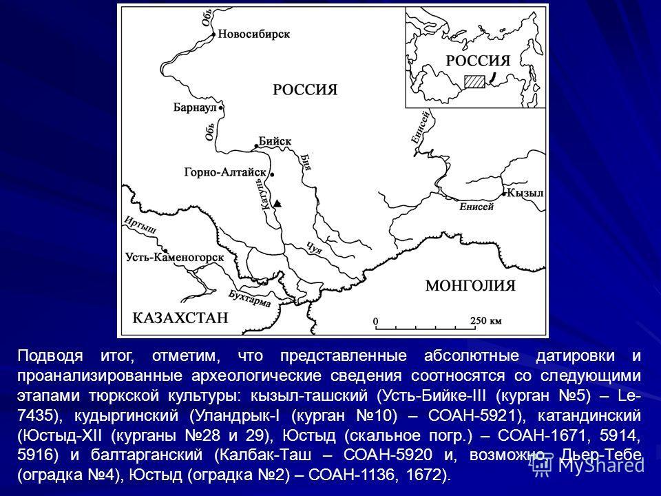 Подводя итог, отметим, что представленные абсолютные датировки и проанализированные археологические сведения соотносятся со следующими этапами тюркской культуры: кызыл-ташский (Усть-Бийке-III (курган 5) – Le- 7435), кудыргинский (Уландрык-I (курган 1