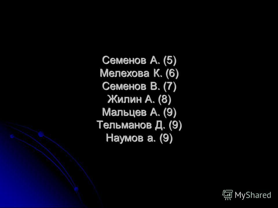 Семенов А. (5) Мелехова К. (6) Семенов В. (7) Жилин А. (8) Мальцев А. (9) Тельманов Д. (9) Наумов а. (9)