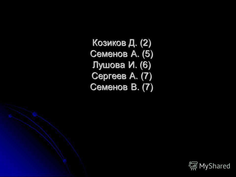 Козиков Д. (2) Семенов А. (5) Лушова И. (6) Сергеев А. (7) Семенов В. (7)
