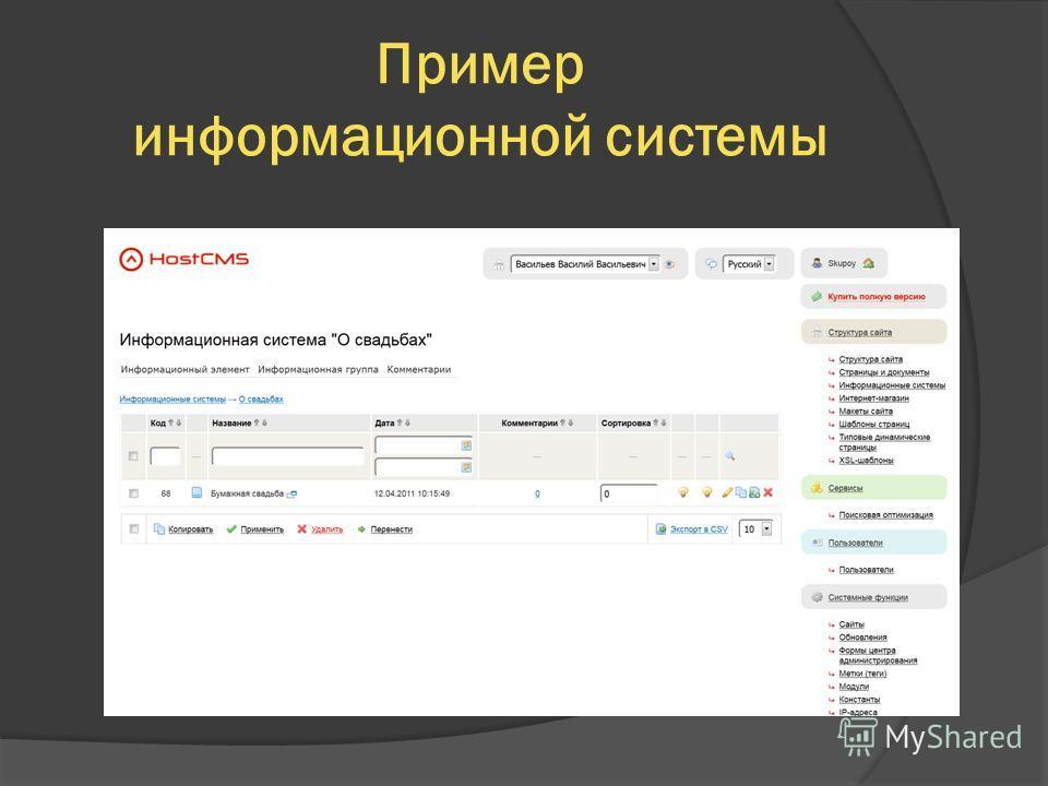 Пример информационной системы
