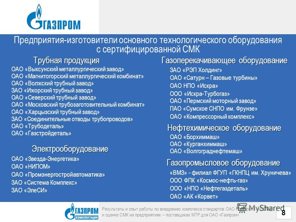 Предприятия-изготовители основного технологического оборудования с сертифицированной СМК Результаты и опыт работы по внедрению комплекса стандартов ОАО «Газпром» на СМК и оценке СМК на предприятиях – поставщиках МТР для ОАО «Газпром» 8 Трубная продук