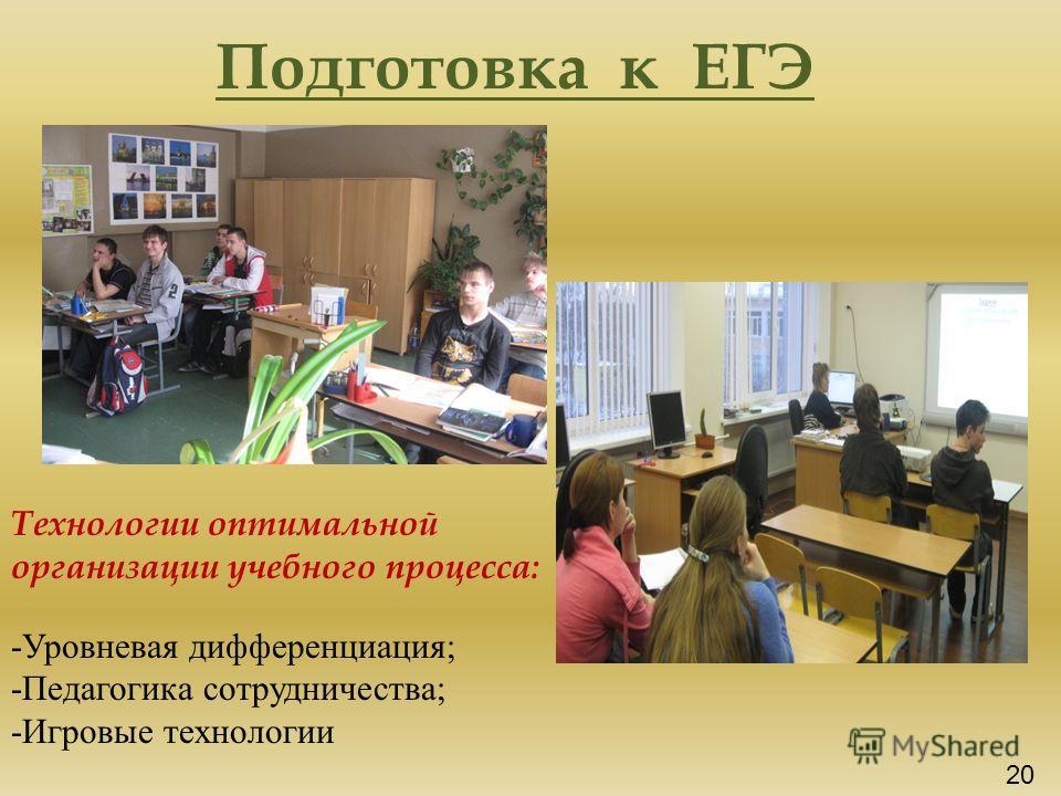 Подготовка к ЕГЭ Технологии оптимальной организации учебного процесса: -Уровневая дифференциация; -Педагогика сотрудничества; -Игровые технологии 20