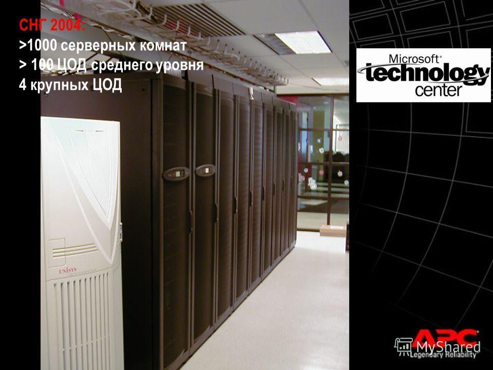 © 2003 APC corporation. СНГ 2004: >1000 серверных комнат > 100 ЦОД среднего уровня 4 крупных ЦОД