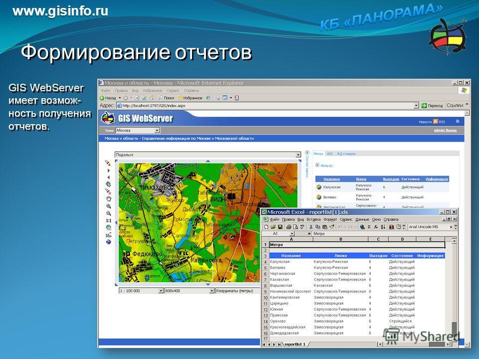 GIS WebServer имеет возмож- ность получения отчетов. Формирование отчетов www.gisinfo.ru