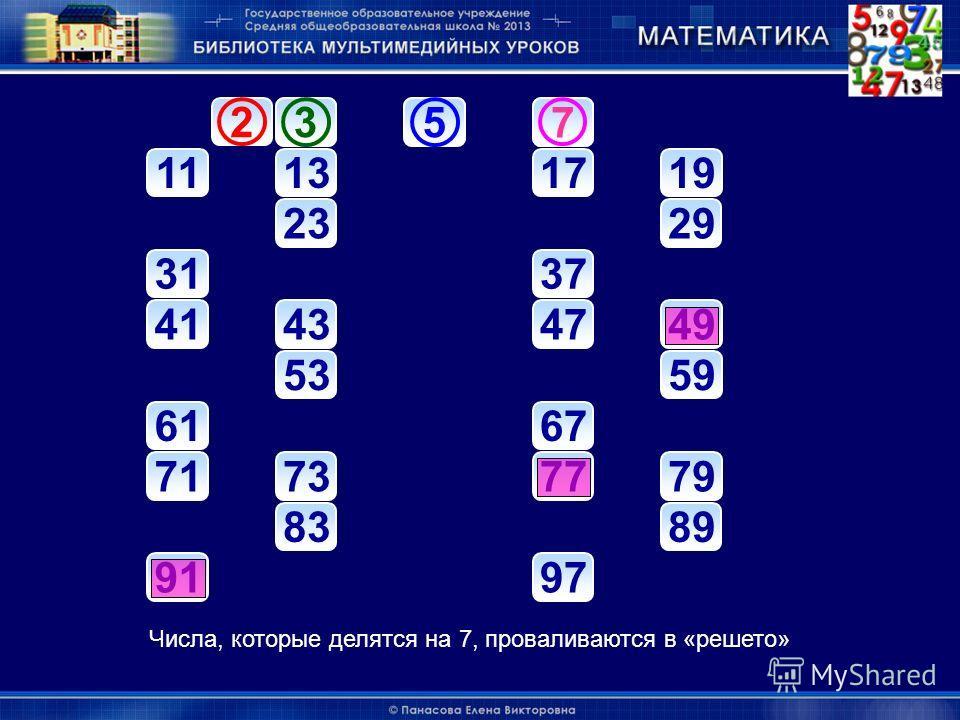 357 11131719 2329 3137 41434749 5359 6167 71737779 8389 9197 235 7 Числа, которые делятся на 7, проваливаются в «решето»