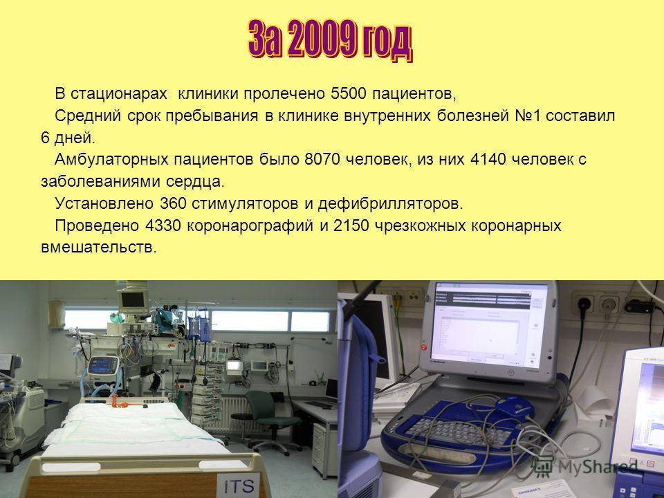 В стационарах клиники пролечено 5500 пациентов, Средний срок пребывания в клинике внутренних болезней 1 составил 6 дней. Амбулаторных пациентов было 8070 человек, из них 4140 человек с заболеваниями сердца. Установлено 360 стимуляторов и дефибриллято