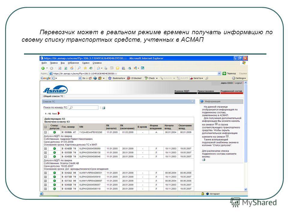 Перевозчик может в реальном режиме времени получать информацию по своему списку транспортных средств, учтенных в АСМАП