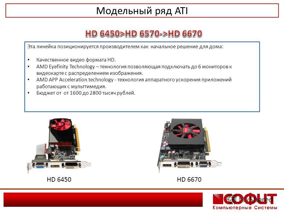 Модельный ряд ATI Эта линейка позиционируется производителем как начальное решение для дома: Качественное видео формата HD. AMD Eyefinity Technology – технология позволяющая подключать до 6 мониторов к видеокарте с распределением изображения. AMD APP