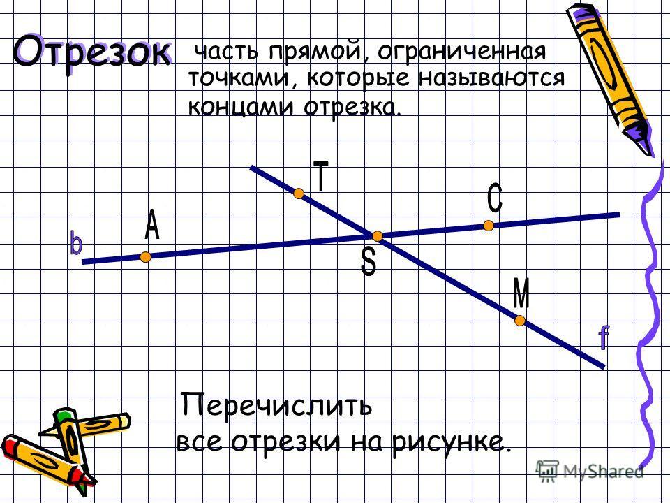 часть прямой, ограниченная точками, которые называются концами отрезка. Отрезок Перечислить все отрезки на рисунке.
