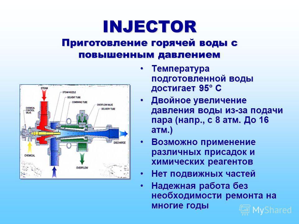 INJECTOR Приготовление горячей воды с повышенным давлением Температура подготовленной воды достигает 95° СТемпература подготовленной воды достигает 95° С Двойное увеличение давления воды из-за подачи пара (напр., с 8 атм. До 16 атм.)Двойное увеличени