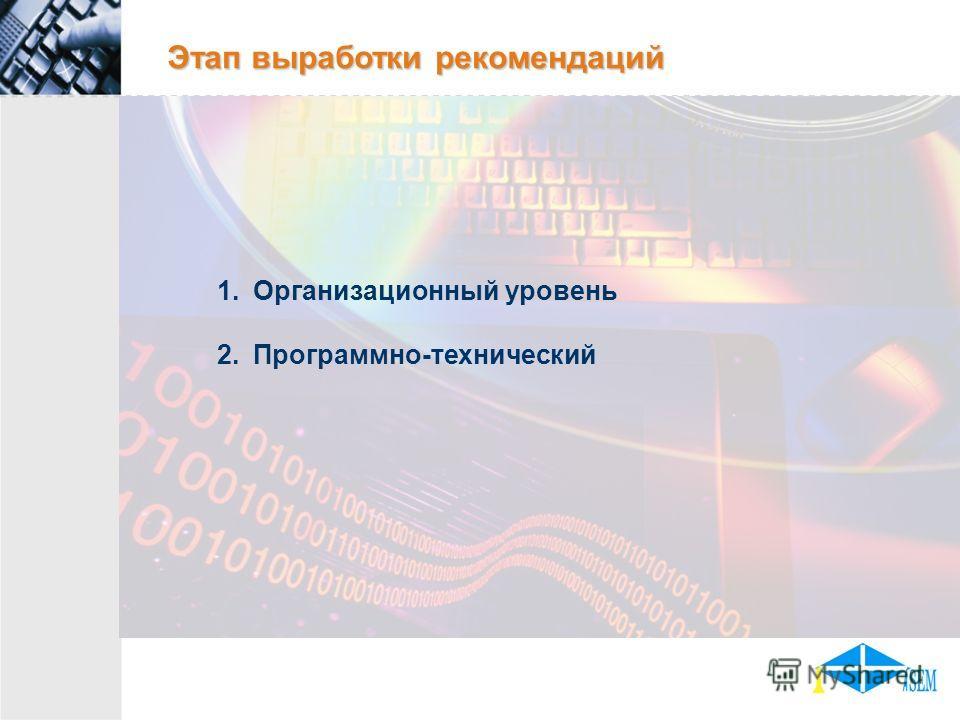 Этап выработки рекомендаций 1.Организационный уровень 2.Программно-технический