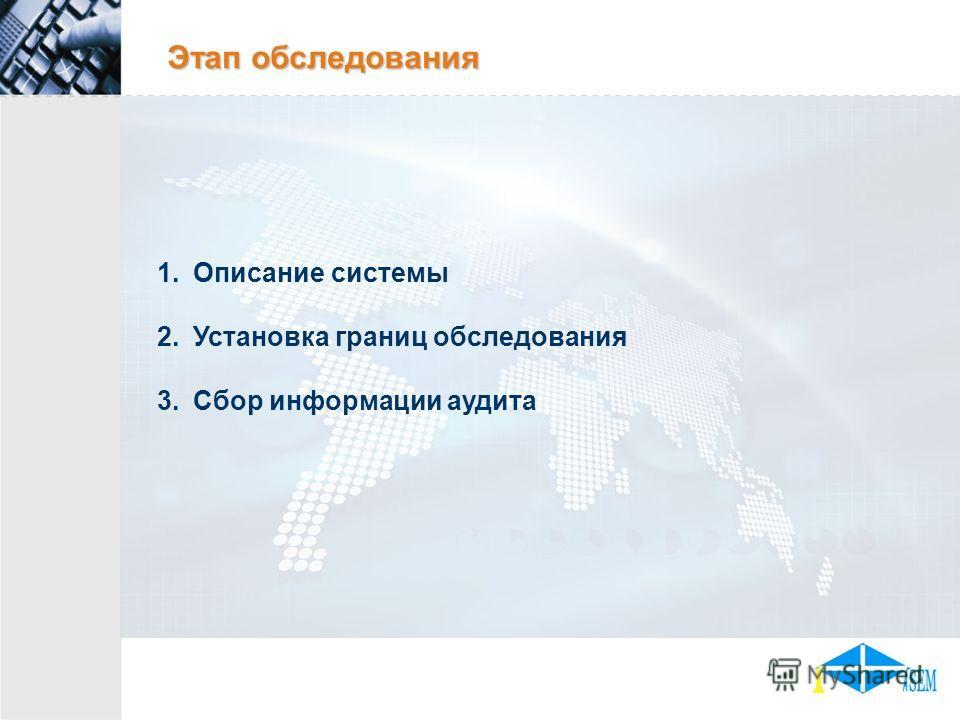 Этап обследования 1.Описание системы 2.Установка границ обследования 3.Сбор информации аудита