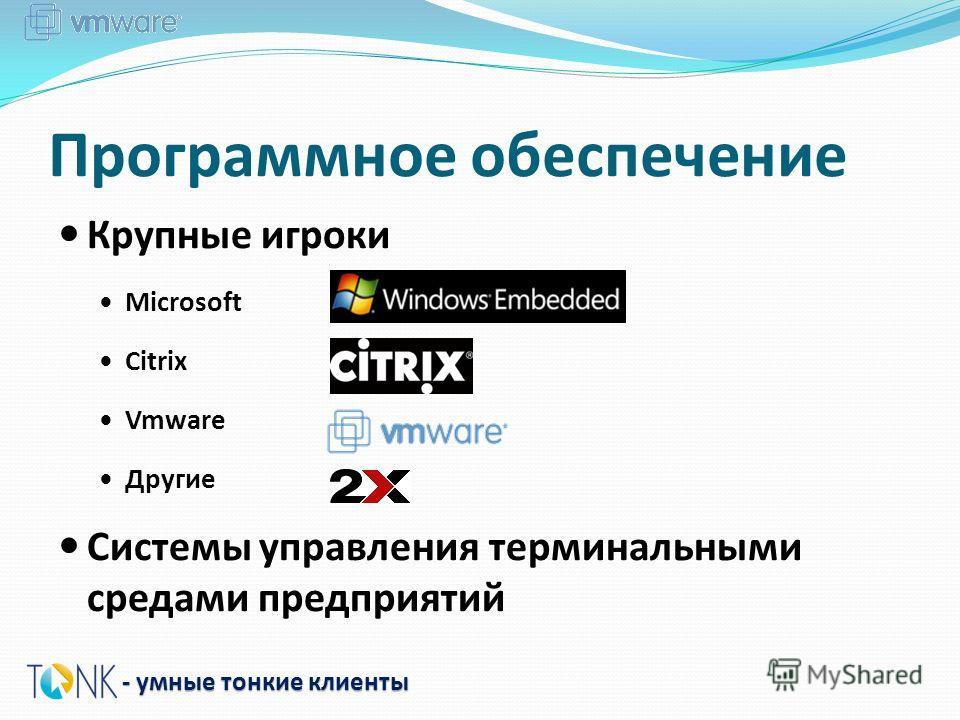Программное обеспечение Крупные игроки Microsoft Citrix Vmware Другие Системы управления терминальными средами предприятий - умные тонкие клиенты