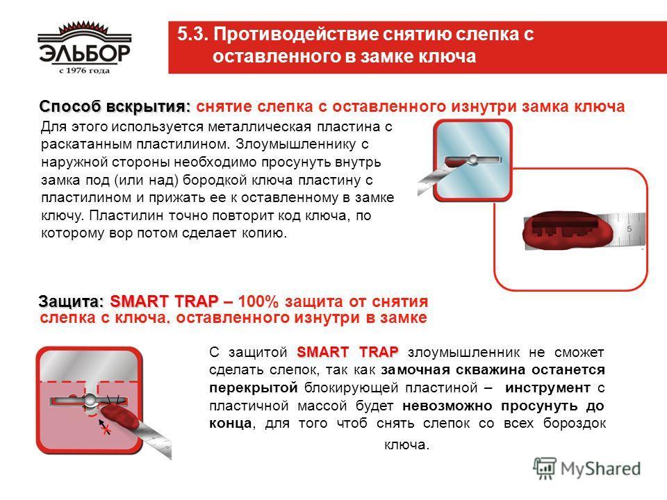 Защита:SMART TRAP Защита: SMART TRAP – 100% защита от снятия слепка с ключа, оставленного изнутри в замке 5.3. Противодействие снятию слепка с оставленного в замке ключа SMART TRAP С защитой SMART TRAP злоумышленник не сможет сделать слепок, так как