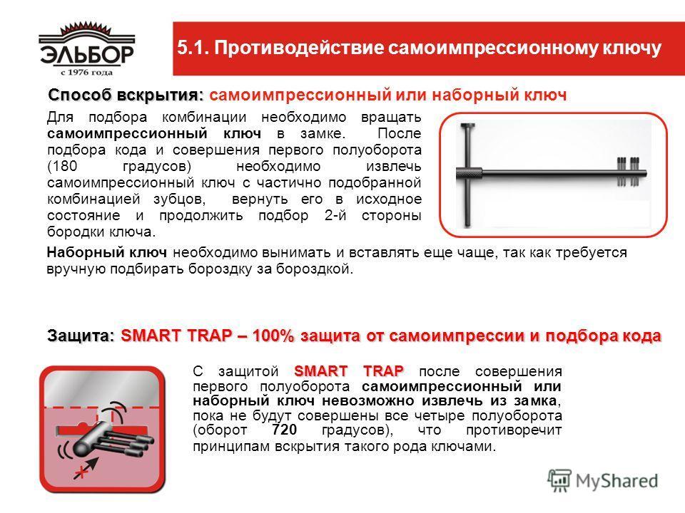 5.1. Противодействие самоимпрессионному ключу SMART TRAP С защитой SMART TRAP после совершения первого полуоборота самоимпрессионный или наборный ключ невозможно извлечь из замка, пока не будут совершены все четыре полуоборота (оборот 720 градусов),