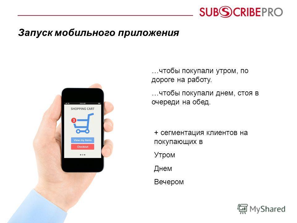 Запуск мобильного приложения + сегментация клиентов на покупающих в Утром Днем Вечером …чтобы покупали утром, по дороге на работу. …чтобы покупали днем, стоя в очереди на обед.