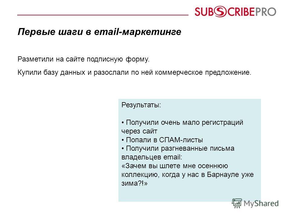 Первые шаги в email-маркетинге Разметили на сайте подписную форму. Купили базу данных и разослали по ней коммерческое предложение. Результаты: Получили очень мало регистраций через сайт Попали в СПАМ-листы Получили разгневанные письма владельцев emai
