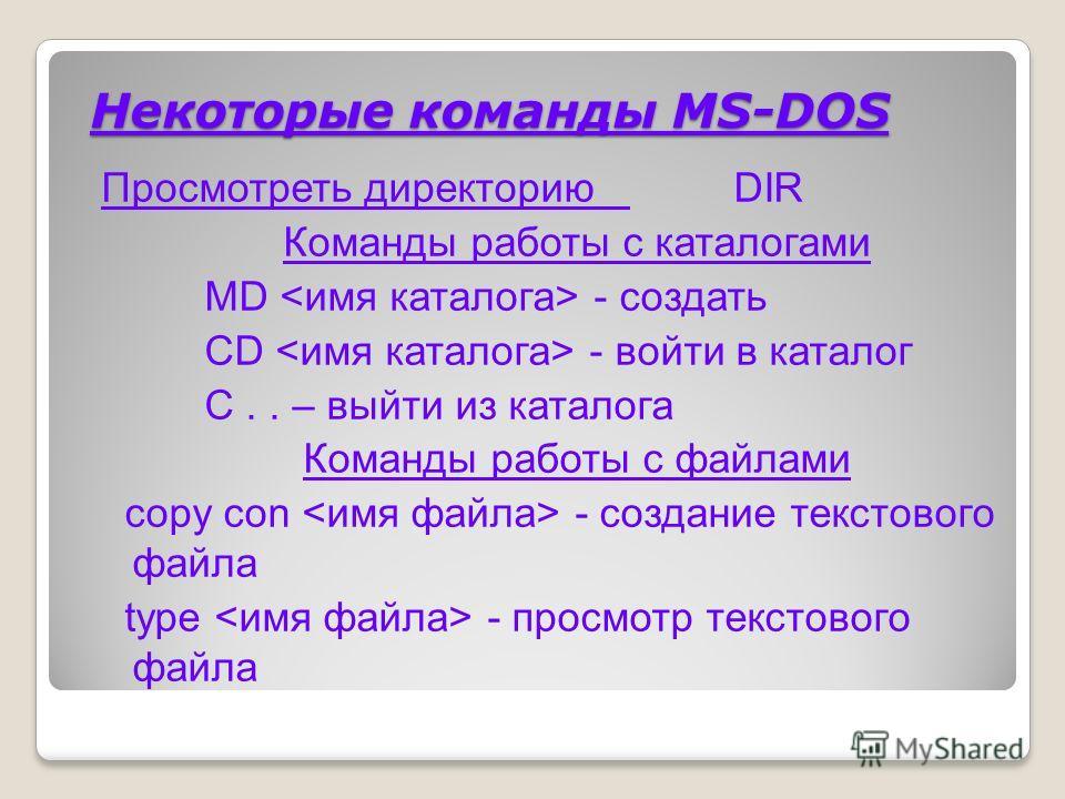 Работа в MS–DOS