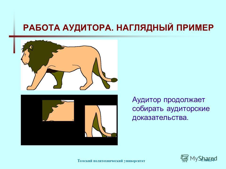 Томский политехнический университет Слайд 6 РАБОТА АУДИТОРА. НАГЛЯДНЫЙ ПРИМЕР Аудитор продолжает собирать аудиторские доказательства.
