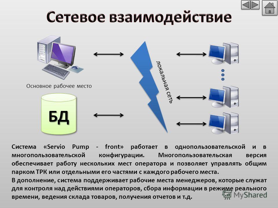 Система «Servio Pump - front» работает в однопользовательской и в многопользовательской конфигурации. Многопользовательская версия обеспечивает работу нескольких мест оператора и позволяет управлять общим парком ТРК или отдельными его частями с каждо