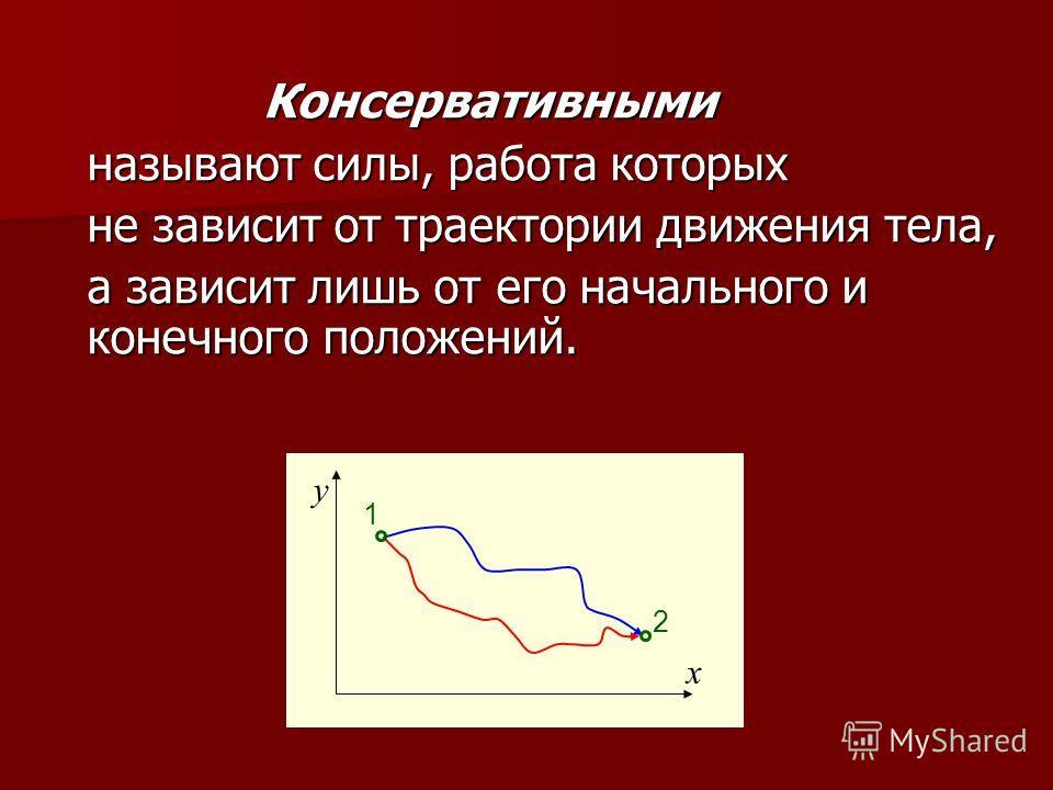 Консервативными называют силы, работа которых не зависит от траектории движения тела, а зависит лишь от его начального и конечного положений. x y 1 2