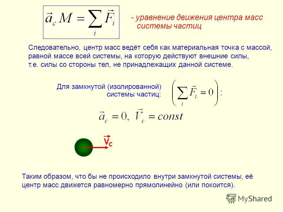 Для замкнутой (изолированной) системы частиц: VCVC c - уравнение движения центра масс системы частиц VCVC VCVC c VCVC Следовательно, центр масс ведёт себя как материальная точка с массой, равной массе всей системы, на которую действуют внешние силы,
