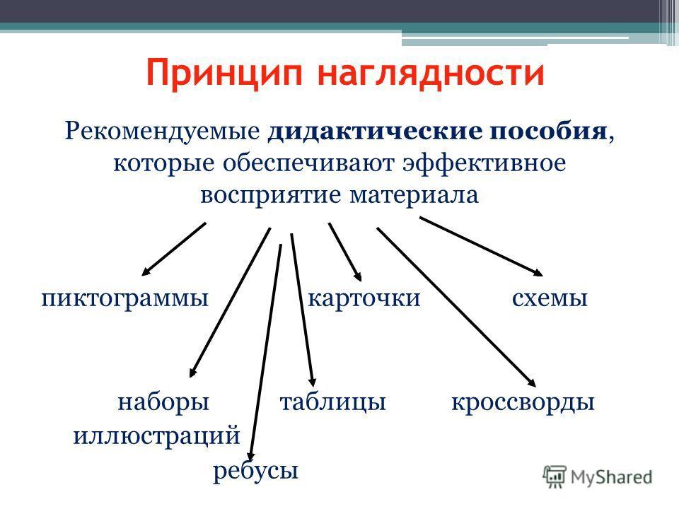 Принцип наглядности Рекомендуемые дидактические пособия, которые обеспечивают эффективное восприятие материала пиктограммы карточки схемы наборы таблицы кроссворды иллюстраций ребусы