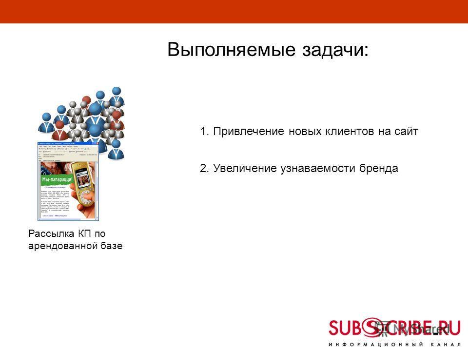 1. Привлечение новых клиентов на сайт 2. Увеличение узнаваемости бренда Рассылка КП по арендованной базе Выполняемые задачи: